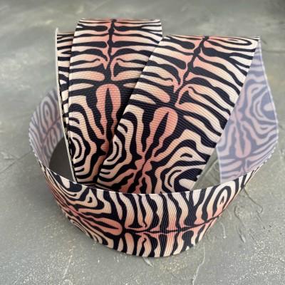 "Репсовая лента 4 см с рисунком ""Тигр"""