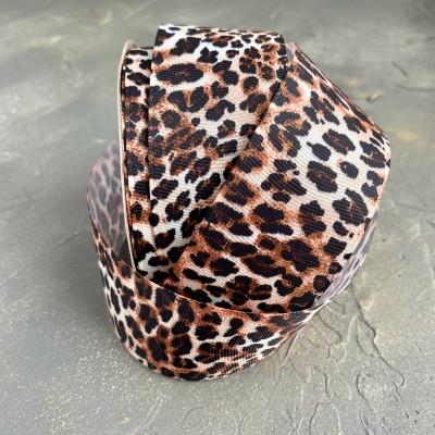 """Репсовая лента 4 см с рисунком """"Леопард"""", коричневый"""