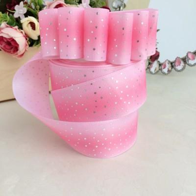 """Репсовая лента 4 см с фольгированием """"Горошки"""", розовый градиент"""