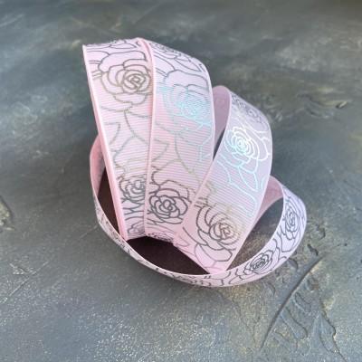 """Репсовая лента 25 мм с фольгированием """"Розы"""", розовый/серебро"""
