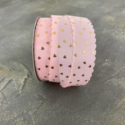 """Репсовая лента 22 мм с фольгированием """"Сердечки"""", светло-розовый/золото"""