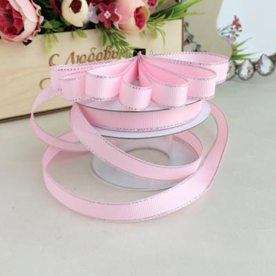 Лента репсовая с люрексом Premium 1,2 см, светло-розовый