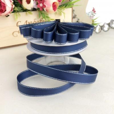 Лента репсовая с люрексом Premium 1,2 см, темно-синий