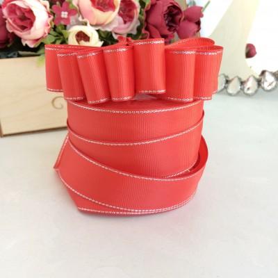 Лента репсовая с люрексом 25 мм, красный