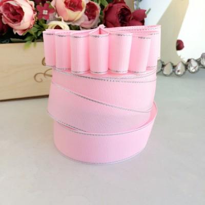 Лента репсовая с люрексом 25 мм, светло-розовый