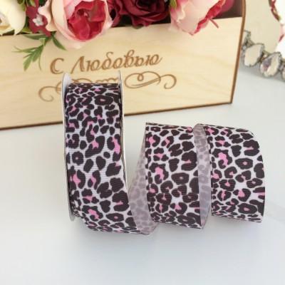 """Репсовая лента 25 мм """"Леопард"""", бело-розовый"""