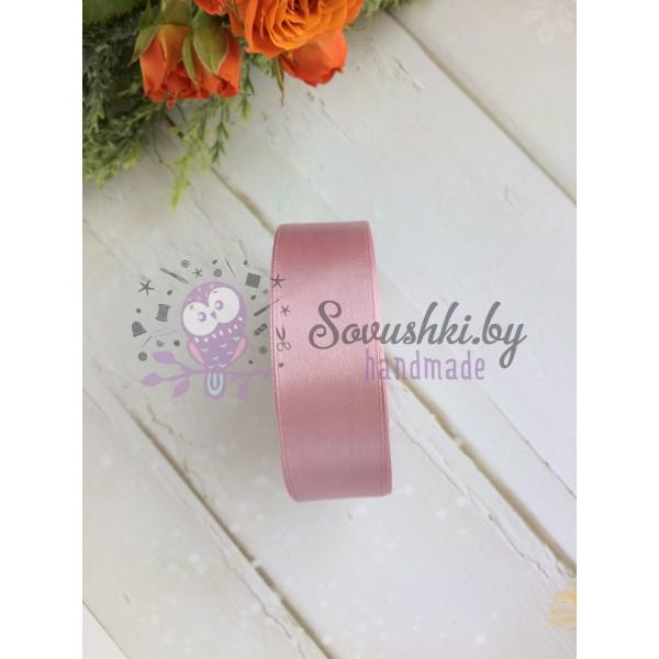 Лента атласная 25 мм, пудрово-розовый
