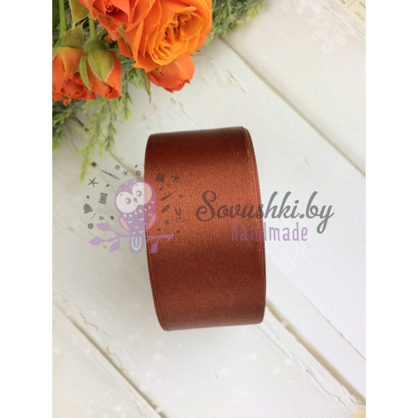 Лента атласная 38 мм, коричневый