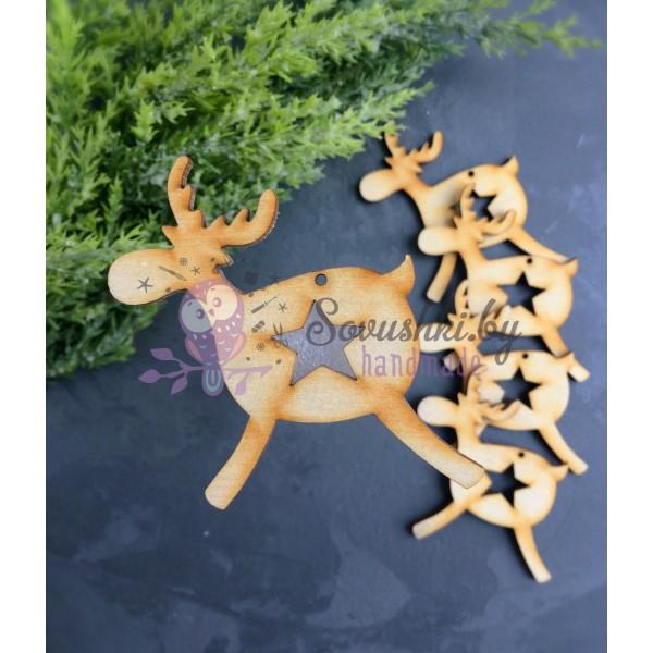 Деревянная заготовка Олень со звездой