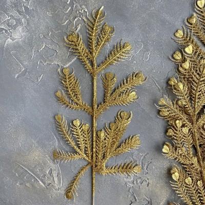 Ветка декоративная с глиттером №3, золото