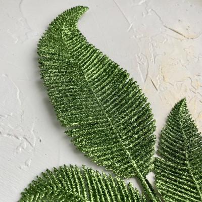 Ветка декоративная с глиттером №1, зеленый