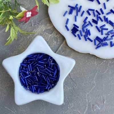 Бисер (25 гр), стеклярус синий