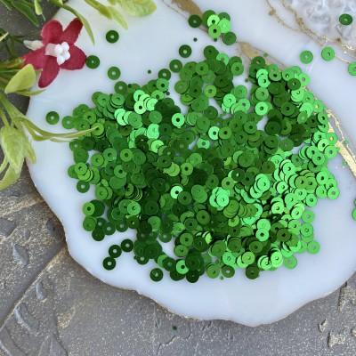 Пайетки круглые 4 мм (10 гр), зеленый