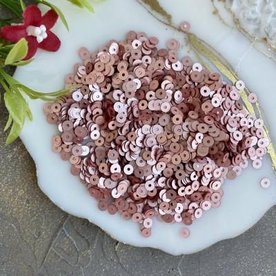 Пайетки круглые 4 мм (10 гр), розовое золото