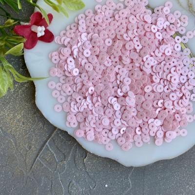 Пайетки круглые 4 мм (10 гр), нежно-розовый