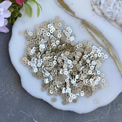 Пайетки круглые 4 мм (10 гр), белое золото
