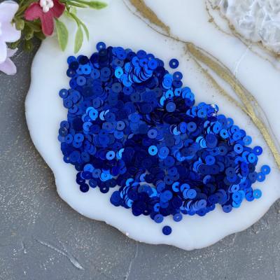 Пайетки круглые 4 мм (10 гр), синий