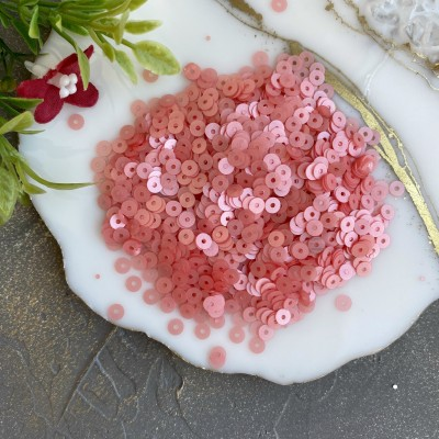 Пайетки круглые 4 мм (10 гр), коралловый