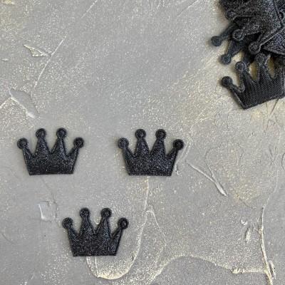 """Патч с блестками """"Корона"""" (4), черный"""
