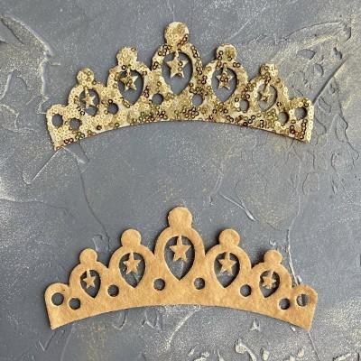 """Патч с пайетками """"Корона"""" большая, золото"""