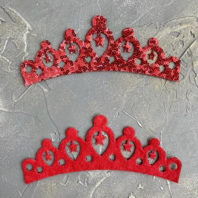 """Патч с пайетками """"Корона"""" большая, красный"""