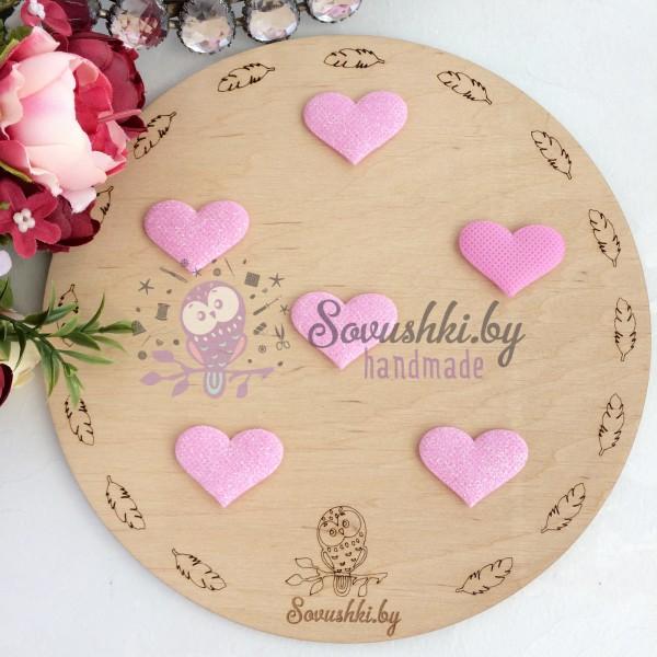 Патч с блестками Сердечко, розовый