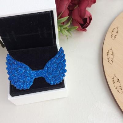 Патч с блестками Крылышки, синий