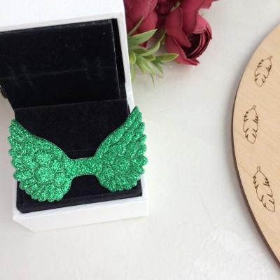 Патч с блестками Крылышки, зеленый