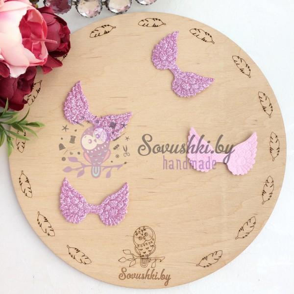 Патч с блестками Крылышки, розовый