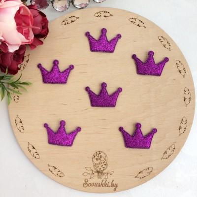 Патч с блестками Корона, фиолетовый