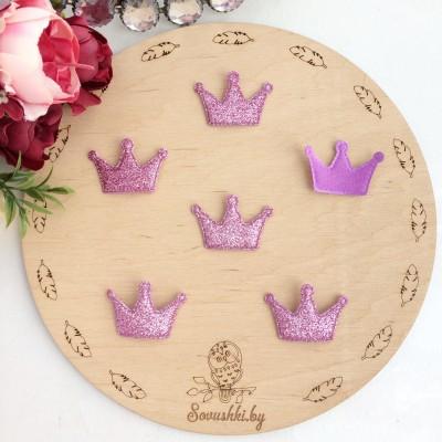 Патч с блестками Корона, розовый