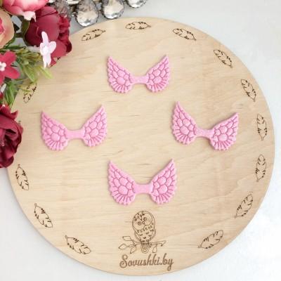 Патч с блестками Крылышки, нежно-розовые