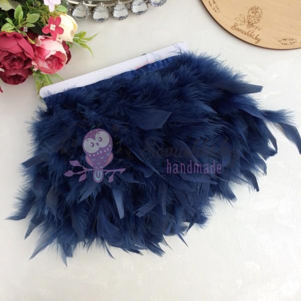 Перья декоративные на ленте, темно-синий