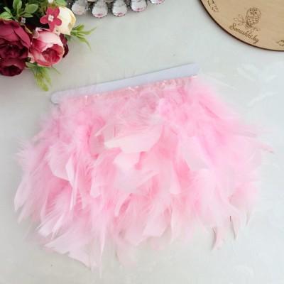 Перья декоративные на ленте, светло-розовый