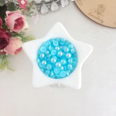 Полубусины 6 мм радужные, голубой