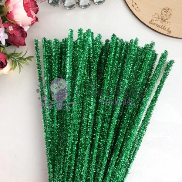 Синельная проволока (шенил) 30 см, зеленый металлик