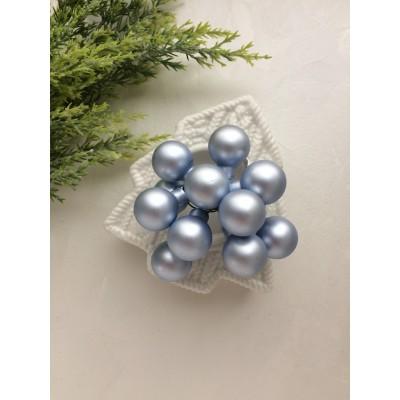 Декор новогодний шары на проволоке голубой матовый