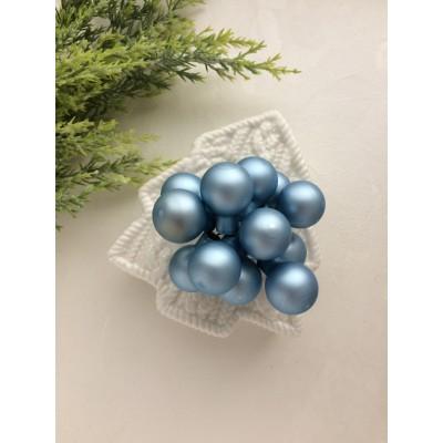 Декор новогодний шары на проволоке голубая сталь