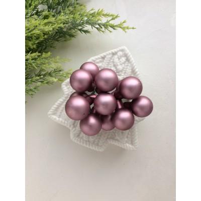 Декор новогодний шары на проволоке розовый матовый
