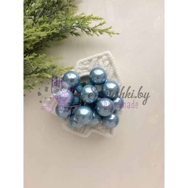 Декор новогодний шары на проволоке стальной голубой