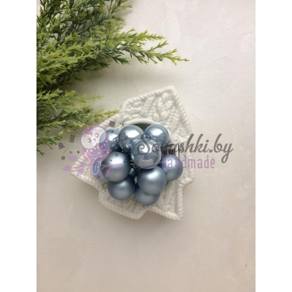 Декор новогодний шары на проволоке голубые