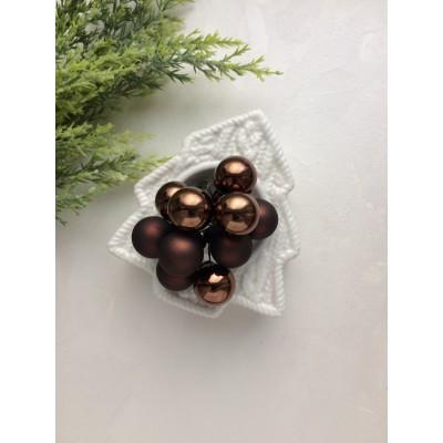 Декор новогодний шары на проволоке коричневые