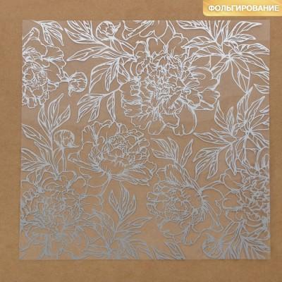 Ацетатный лист с фольгированием «Серебряные пионы»