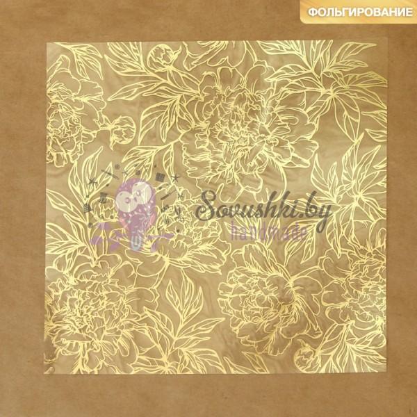 Ацетатный лист с фольгированием «Золотые пионы»