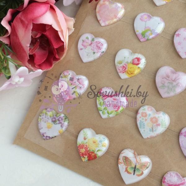 """Наклейки (кабошон) для декора """"Цветы в сердечках"""" микс"""