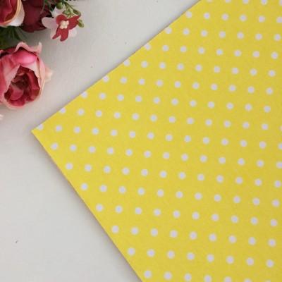 """Ткань самоклеящаяся для скрапбукинга и декора """"Горошек"""", желтый"""