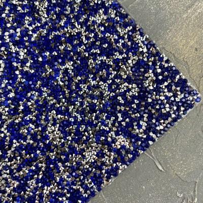 Стразовое полотно на силиконовой основе, синий/серебро