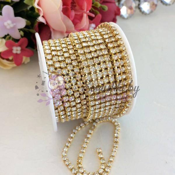 Стразовая цепь серебро в золоте (SS12)