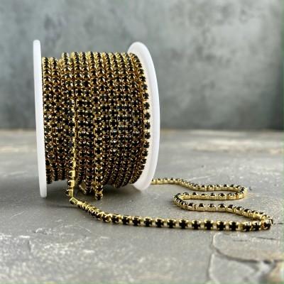 Стразовая цепь черный в золоте (SS10)