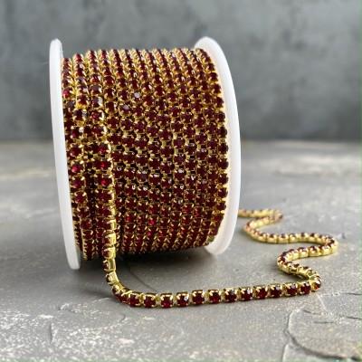 Стразовая цепь бордовый в золоте (SS12)